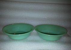 2 Fire King Jane Ray Jadeite Fruit Bowls