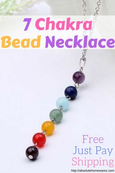 """Elegant chakra necklace with natural gemstones and sterling silver clasp on a 17"""" silver plated chain necklace. promotes beauty, health, good luck, and healing. Wear for yoga, prayer, mediation, and for fashion."""