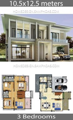 House plans idea with 3 bedrooms - Home Ideassearch Interior Design Living Room Warm, Living Room Modern, Duplex House Design, Modern House Design, Modern House Plans, House Floor Plans, Three Bedroom House Plan, Living Room Colors, Cottage Homes