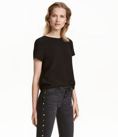 Short-sleeved Blouse | Black | Ladies | H&M US