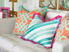 LOVE the turquoise and coral pillows House of Turquoise: Olive Interiors