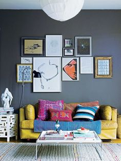 Simple, boho, modern; Neutral gray, fabrics, textures and lots of colors.