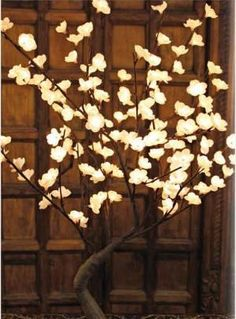 This would look awsome! The Light Garden Lighted White Bonsai Tree 128 Lights|BNSWT128 at livingcomforts.com