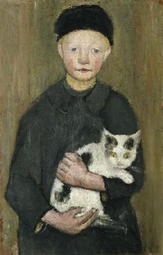 Paula Modersohn-Becker - Figurative Painting - boy & Cat - Garçon avec le chat