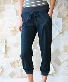Look at this #zulilyfind! Navy Cuffed Linen Capri Pants #zulilyfinds…also in taupe