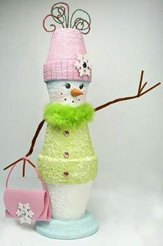 ~` glitzy gloria `~ What a Great idea, from little clay pots! Snowman Crafts, Christmas Projects, Holiday Crafts, Holiday Fun, Flower Pot Crafts, Clay Pot Crafts, Diy Crafts, Flower Pots, Noel Christmas