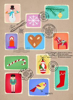 Christmas Stamp Collection - limited edition print of 50 by Elisandra, $23.00