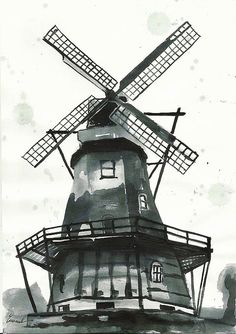 Print Art Sketch Poster Ink Drawing windmill Painting by rcolo, $10.00