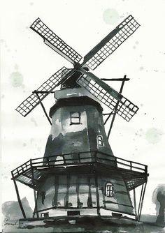 Molino de arte acuarela regalo boceto cartel tinta de por rcolo