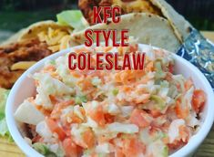 This Crunchy Coleslaw is quite easy to prepare & the whole family will enjoy it.The only downfall about this recipe is that you would have to prepare it in American Fast Food, Kentucky Fried, Fast Food Restaurant, Kfc, Coleslaw, Fried Chicken, Fries, Ethnic Recipes, Style