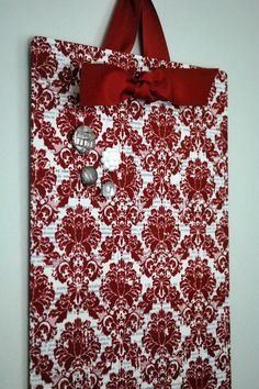 Fabric Magnetic Board: cover a flat cookie sheet with fabric, then embellish!