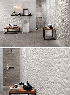 Badezimmer Fliesen Ideen installieren 3D Fliesen zu hinzufügen Textur, Ihr Bad / / die geometrischen Formen in dieser 3D Wandfliesen schaffen ein modernes und belebende Gefühl im Badezimmer, während die weiße Farbe und die Verwendung von natürlichen Materialien macht den Raum beruhigend und entspannend.