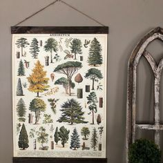 Your place to buy and sell all things handmade Tree Wall Art, Hanging Wall Art, Tree Saw, Dark Wood Stain, Hanging Posters, Vintage Art Prints, Tree Print, Wood Planks, Botanical Prints