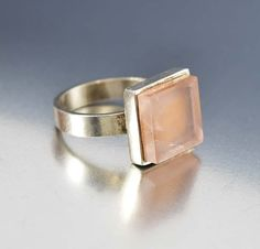 English Modernist Silver Rose Quartz Ring Magnus Maximus