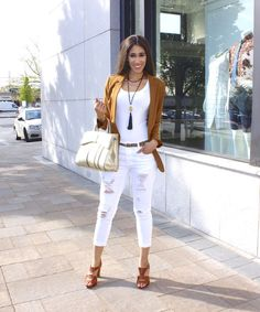 Cognac - The Style Contour | spring outfit idea, brown blazer, how to wear a brown blazer, brown jacket, brown and white outfit idea, leopard print belt, metallic gold belt