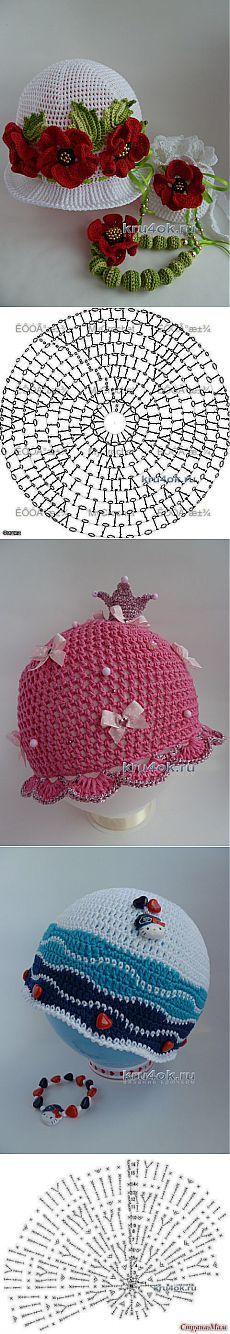 Crochet Patterns Girl This Pin was discovered by Ros Baby Girl Crochet, Crochet Baby Hats, Crochet Beanie, Crochet Clothes, Knitted Hats, Bonnet Crochet, Crochet Lace Edging, Crochet Cap, Crochet Flowers