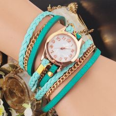 Cheap bracelet hot, Buy Quality bracelet digital watch directly from China watch motor Suppliers: New Fashion Retro Vintage Colorful Multilayer Faux Leather Strap Band Wrap Women Bracelet Quartz Wrist Watch Female Fossil Watches For Men, Cute Watches, Vintage Watches, Mint Watch, Ladies Bangles, Fashion Watches, New Fashion, Bracelets, Bracelet Watch