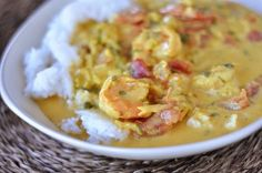 Coconut Shrimp Curry. Use way less salt. Subbed tomato paste for diced tomatoes, added some sugar.