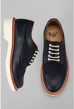 Dr. Martens Alfred Brogue Shoe. White wedge sole/black leather