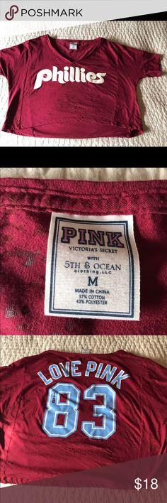 Victoria Secret crop tee-shirt Phillies Philadelphia Phillies baseball crop tee Victoria's Secret Tops Crop Tops