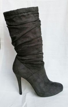 Gray-Slouch-Boots-Size-7-5-Delicious-Grey-Heels-Faux-Suede-Mid-Calf