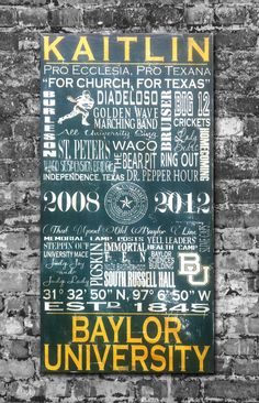 Baylor University Typographic Art. LOVE this for a game room or study...customize it to your own Baylor experience.