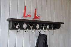 3 Personalized Spoon Hooks and 4 Funky Fork Hooks Coat Rack with Shelf in Stained Brown Black. $85.00, via Etsy.