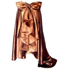 Preowned Vicky Tiel Couture Brown Silk Metallic Wrap Formal Skirt With... ($400) ❤ liked on Polyvore featuring skirts, brown, long ruffle skirt, long skirts, ruffle skirt, metallic skirt and silk wrap skirt