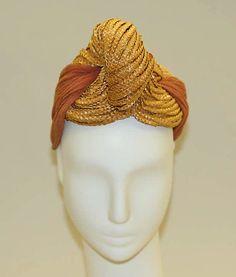 Turban | John Frederics (American, 1929-1948) | Date: 1940 | Materials: silk, straw | The Metropolitan Museum of Art, New York