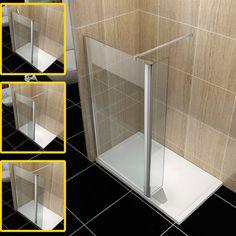 Wet Room Shower Screen Walk in Shower Enclosure Tray+Waste Flipper Glass Panel