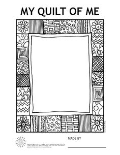 Print this Faith Ringgold-inspired quilt frame and add color and your drawing to create your own portrait quilt.