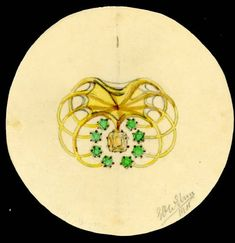 Ehrström, Eric O. W. / Brooch, sketch / 1911 / drawing, pencil and colored pencil on paper / Gösta Serlachius Fine Arts Foundation, digitized from original