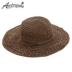 23ac9774870  AETRENDS  2017 Summer Sun Hats for Women Wide Brim Hand Made Straw Hat Z