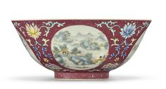A RUBY-GROUND FAMILLE-ROSE SGRAFFIATO 'MEDALLION' BOWL  DAOGUANG SEAL MARK AND PERIOD