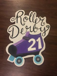 Wooden Sign. Roller Derby sign
