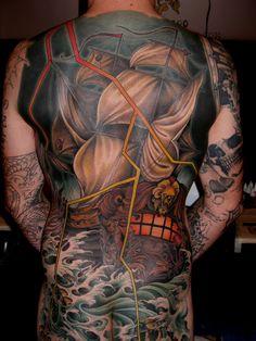 Brendan Rowe - Memoir Tattoo.         Los Angeles, CA.   Neo Traditional. Tattoo. Nautical. Back. Backpiece. Lightning. Ship. Waves