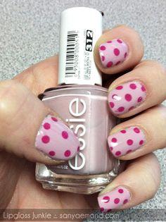 Pink polkadots nails #Polkadot #Nails