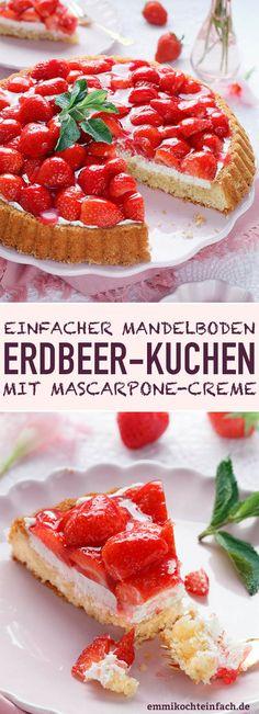 Erdbeerkuchen mit Mascarpone-Creme und Mandelboden - www.emmikochteinfach.de