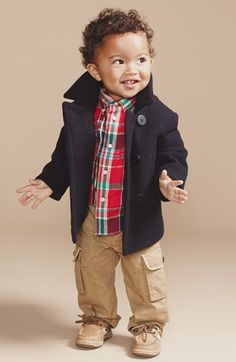 Ralph Lauren Naval Peacoat, Shirt & Cargo Pants  available at #Nordstrom - cutest kid!!