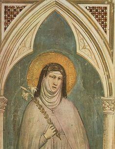Giotto - Saint Clare (detail) 1325 Fresco, 230 x 70 cm (whole fresco) Bardi Chapel, Santa Croce, Florence