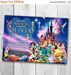 Disney Castle Invitation Disney Characters Invitation Disney