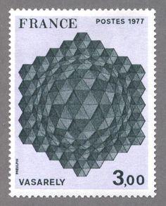 timbres de france/timbre france 1977 - 1924 - Hommage a l hexagone, tableau de Victor Vasarely - Serie Oeuvres d Art.JPG