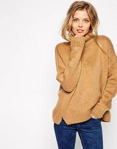 ASOS Chunky Sweater In Brushed Yarn With Roll Neck - Camel by: ASOS @ASOS (US)