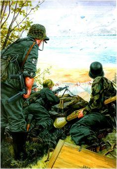 Granaderos del G.R. 914 emplazados en Pointe du Hoc, playa Omaha, Normandia, perteneciente a la 352.ª Division de Infanteria observan la llegada de la flota de invasion.