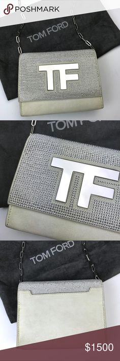 8d7a5f088b68 Tom Ford White Suede Crossbody Bag Silver Hardware Limited Edition! Tom  Ford White Suede Crossbody