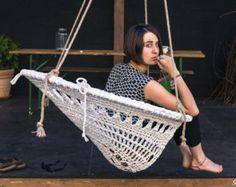 Mandala Crochet Swing Handmade Recycled White Crochet by retextil