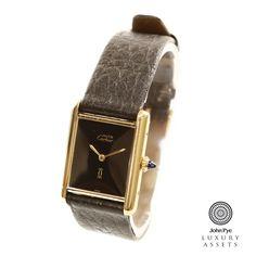 #Cartier Must De Cartier gents #watch, black dial with gold plates case, black leather strap