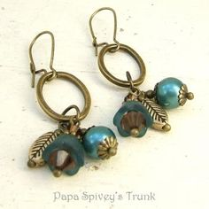 Hand Dyed Teal Flower and Pearl Earrings