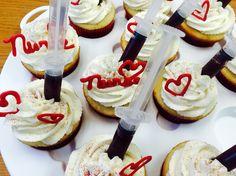 Nurses Day Cupcakes - Syringes - Raspberry Filling
