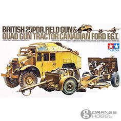 This British Field Gun & Quad Gun Tractor (Canadian Ford F.T) model kit is made by Tamiya in scale. - Lots of accessory parts - Driver figure B Panzer Iv, Quad, Jeep Willys, Model Building Kits, Building Toys, Luftwaffe, Plastic Model Kits, Plastic Models, New Model Car